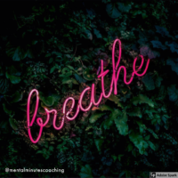 neon 'breathe' sign in leaves
